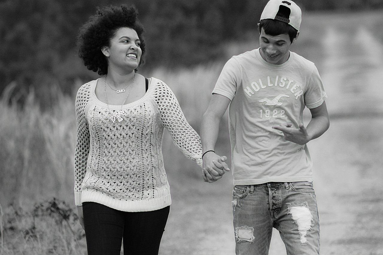 Mixed interracial Couple walking